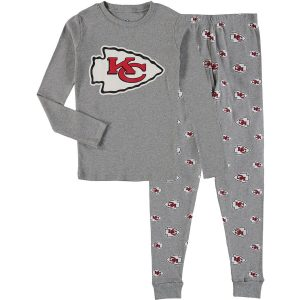 Kansas City Chiefs Youth Heathered Gray Long Sleeve T-Shirt & Pants Sleep Set