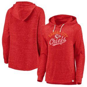 Kansas City Chiefs Women's Red Faded Script Raglan Pullover Hoodie