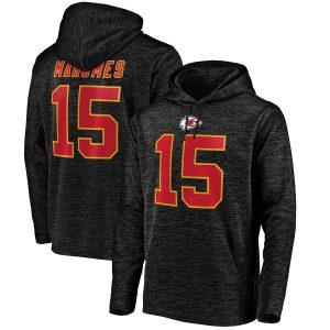 Patrick Mahomes Kansas City Chiefs Black Streak Fleece Name & Number Pullover Hoodie