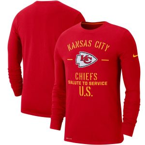 Nike Kansas City Chiefs Red 2019 Salute to Service Sideline Performance Long Sleeve Shirt