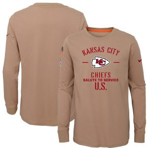 Nike Kansas City Chiefs Youth Khaki 2019 Salute to Service Performance Long Sleeve T-Shirt