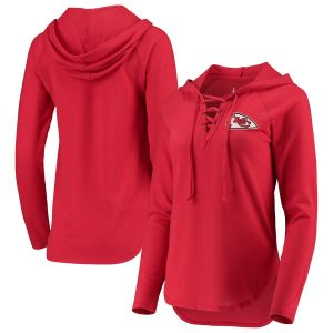 Touch by Alyssa Milano Kansas City Chiefs Women's Red Soaring V-Neck Pullover Hoodie