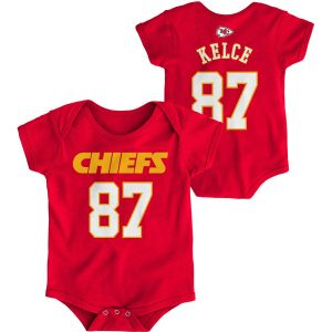 Travis Kelce Kansas City Chiefs Infant Red Mainliner Name and Number Bodysuit