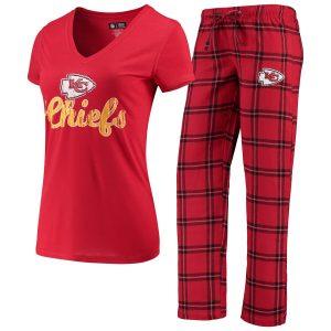 Women's Kansas City Chiefs Concepts Sport Red/Black Troupe V-Neck T-Shirt & Pants Sleep Set