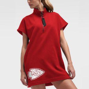 Women's Kansas City Chiefs Red DKNY Sport Donna Fleece Half-Zip Dress