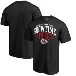 Patrick Mahomes Kansas City Chiefs NFL Pro Line by Fanatics Branded Hometown Collection Showtime in KC T-Shirt – Black