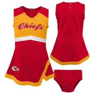 Kansas City Chiefs Girls Infant Cheer Captain Jumper Dress – Red/Yellow