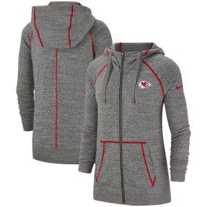Nike Kansas City Chiefs Women's Heathered Gray Gym Vintage Raglan Full-Zip Hoodie