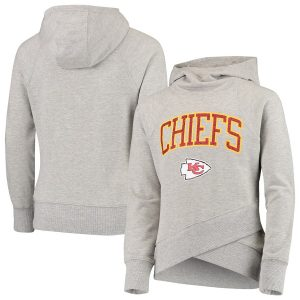 Kansas City Chiefs Youth Glam Girl Funnel Neck Pullover Hoodie – Heathered Gray