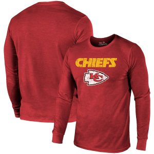 Kansas City Chiefs Majestic Threads Lockup Tri-Blend Long Sleeve T-Shirt – Red