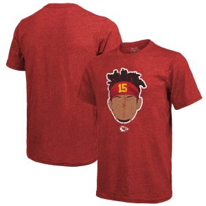 Patrick Mahomes Kansas City Chiefs Majestic Threads Tri-Blend Player Graphic T-Shirt – Red