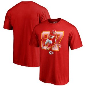 NFL Pro Line by Fanatics Branded Travis Kelce Kansas City Chiefs Red Powerhouse Player T-Shirt