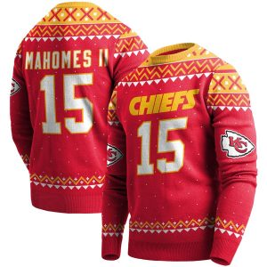 Patrick Mahomes Kansas City Chiefs Red Player Name & Number Pullover Sweater