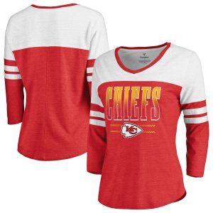 Kansas City Chiefs Fanatics Branded Women's Team Wave 3/4-Sleeve V-Neck T-Shirt – Red/White