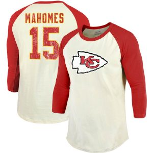 Patrick Mahomes Kansas City Chiefs Majestic Threads Vintage Inspired Player Name & Number 3/4-Sleeve Raglan T-Shirt – Cream/Red