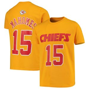 Patrick Mahomes Kansas City Chiefs Youth Yellow Fashion Name & Number T-Shirt