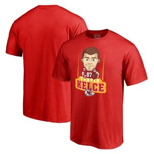 Travis Kelce Kansas City Chiefs NFL Pro Line Emoji Player T-Shirt – Red