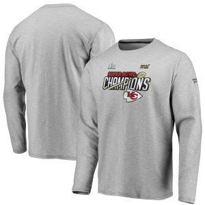 Kansas City Chiefs NFL Pro Line by Fanatics Branded Super Bowl LIV Champions Trophy Collection Locker Room Long Sleeve T-Shirt – Heather Gray