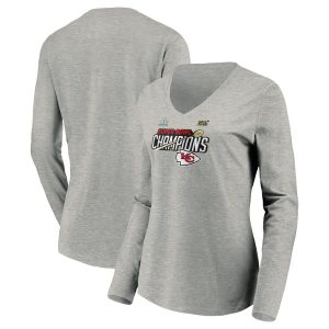 Kansas City Chiefs NFL Pro Line by Fanatics Branded Women's Super Bowl LIV Champions Trophy Collection Locker Room Long Sleeve V-Neck T-Shirt – Heather Gray