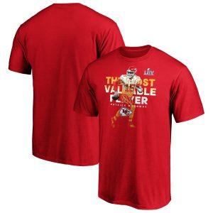 Patrick Mahomes Kansas City Chiefs NFL Pro Line by Fanatics Branded Super Bowl LIV Champions Pick Six MVP Player Graphic T-Shirt – Red
