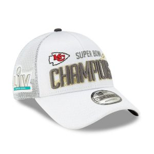 Kansas City Chiefs New Era Super Bowl LIV Champions Locker Room 9FORTY Adjustable Hat – White
