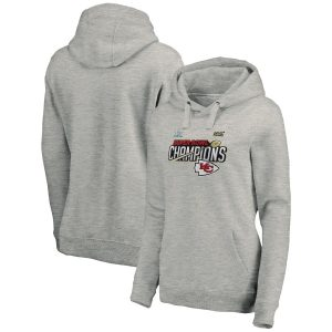 Kansas City Chiefs NFL Pro Line by Fanatics Branded Women's Super Bowl LIV Champions Trophy Collection Locker Room Pullover Hoodie – Heather Gray