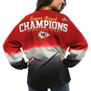 Kansas City Chiefs NFL Pro Line by Fanatics Branded Women's Super Bowl LIV Champions Ombre Long Sleeve Spirit Jersey – Red/Black