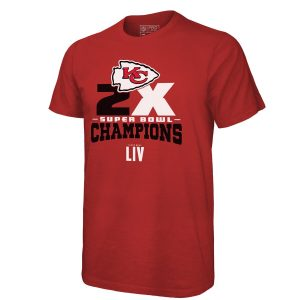 Kansas City Chiefs NFL Pro Line by Fanatics Branded 2-Time Super Bowl Champions Roll Out T-Shirt – Red