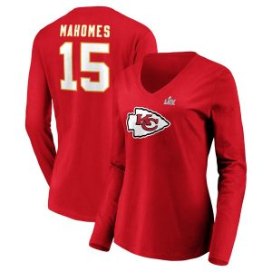 Patrick Mahomes Kansas City Chiefs NFL Pro Line by Fanatics Branded Women's Super Bowl LIV Bound Halfback Player Name & Number Long Sleeve V-Neck T-Shirt – Red