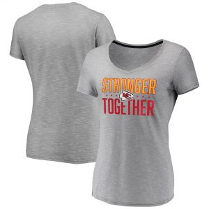 Kansas City Chiefs Women's Stronger Together Space Dye V-Neck T-Shirt – Heather Gray